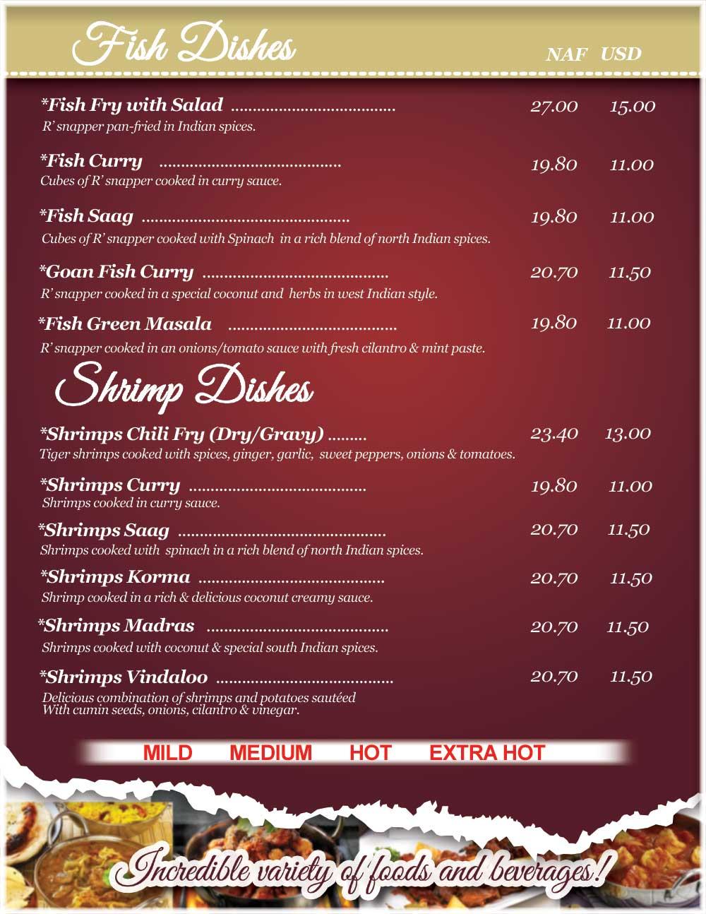 Menu shrimp and fish shiv shakti bar and indian for Alaska fish and chicken menu