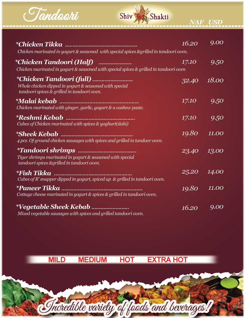 Menu tandoori shiv shakti bar and indian restaurant in for Alaska fish and chicken menu